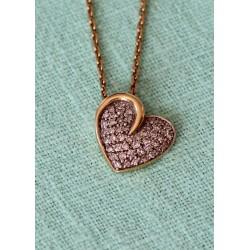 Collier Pendentif coeur pavage de Diamants