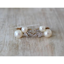 Boucles d'oreilles anciennes avec Perles et Diamants