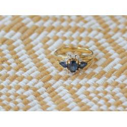 Bague en or jaune 18k avec Saphirs et Diamants