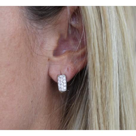 Boucles d'oreille or blanc et Oxydes