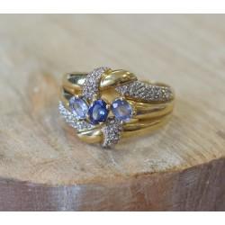 Bague en or jaune et Topaze Saphir et Diamants