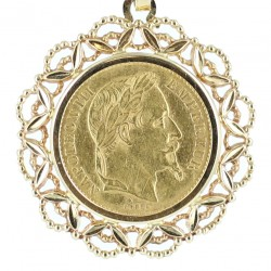 Pendentif porte pièce de 20 Frs Napoléon III en or jaune avec sa chaîne