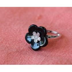 Bague Fleur Onyx et diamants
