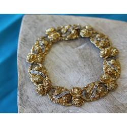 Bracelet ancien en or jaune avec diamants