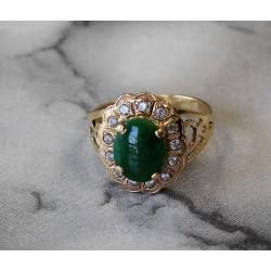 Bague en or jaune avec Diamants et Jade