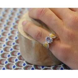 Bague or jaune avec Diamants et Aigue Marine