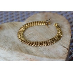 Bracelet maille Américaine en or jaune 18k