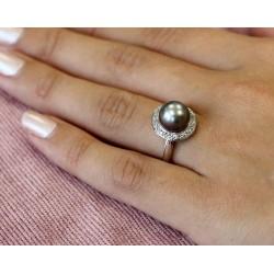 Bague en Or blanc avec Perle de Tahiti et diamants 18k