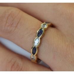 Bague anneau en Or jaune Saphir et Diamants