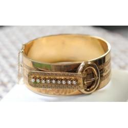 Bracelet Jonc en Or Rose avec perles