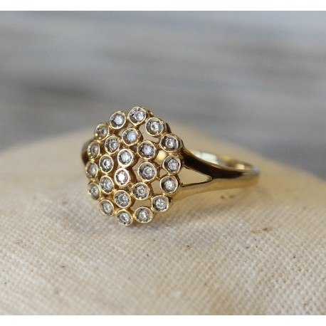 Bague en Or jaune 18k avec Diamants