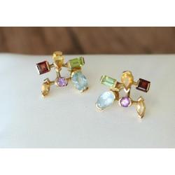 Boucles d'oreille Or jaune et pierres précieuses