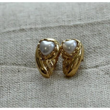 Boucles d'oreille Plumes en Or jaune avec Perle de Culture