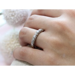 Bague en Or blanc demi-tour diamants 0,050ct