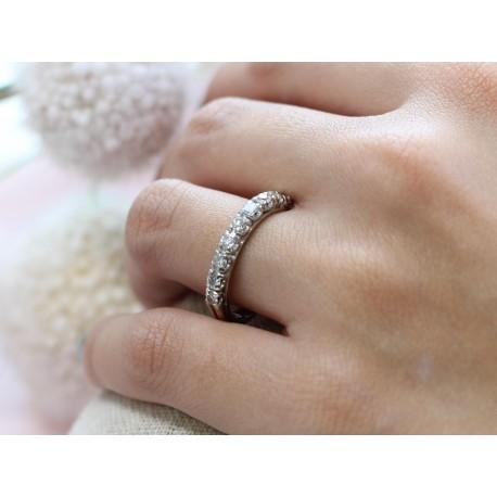 Bague en Or blanc demi-tour diamants 0,050ct