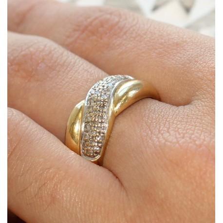 Bague en Or jaune et blanc pavage diamants