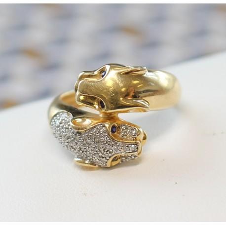 Bague Panthère en Or jaune et blanc avec diamants et yeux Saphir