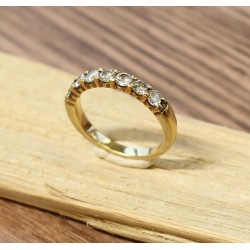 Bague en Or jaune avec 7 Diamants de 0,11ct