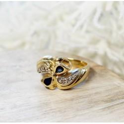 Bague en Or jaune et blanc avec Saphir et diamants