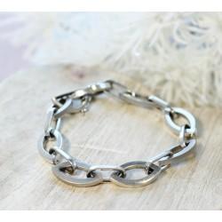 Bracelet en Or blanc maille mate et brillant