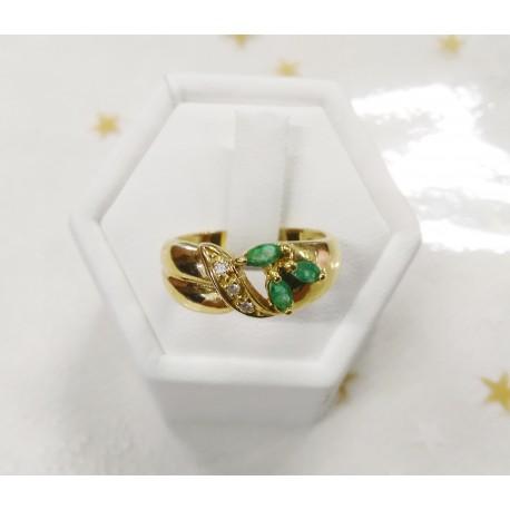 Bague en Or jaune avec Pierres Vertes et Diamants