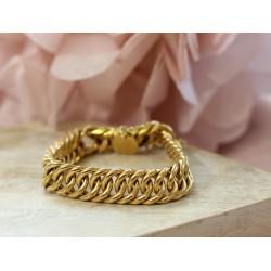 Bracelet Maille Anneaux plats en or