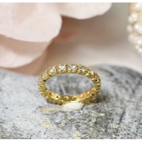 Bague Alliance Tour complet en Or jaune avec diamants