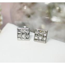 Boucles d'oreille en Or blanc avec Diamants princesse