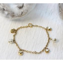 Bracelet en Or jaune avec Petits Coeurs et Perles