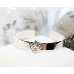 Bracelet Jonc en Or blanc avec Diamants Princesse