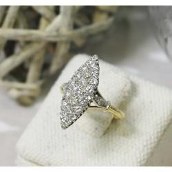 Bague en Or jaune et blanc avec diamants