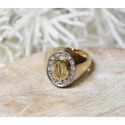 Bague Chevalière 2 Ors avec diamants