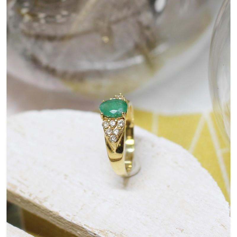 Exceptionnel Bague en Or jaune avec Emeraude et Diamants UP21