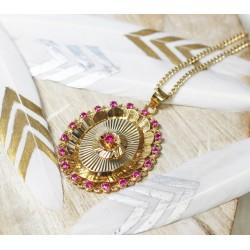 Collier Médaillon en Or jaune avec pierres roses