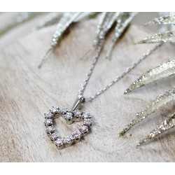 Collier Coeur en Or blanc avec diamants