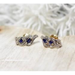 Boucles d'oreille en Or blanc avec Saphir et diamants