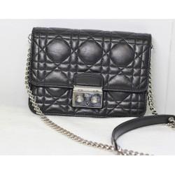 """Mini Pochette Dior Promenade """"Miss Dior"""" en Agneau noir"""
