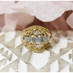 Bague Ancienne en Or jaune et diamants