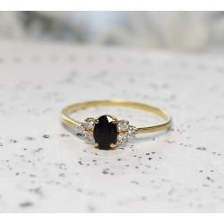 Bague en Or jaune avec Saphir et diamant