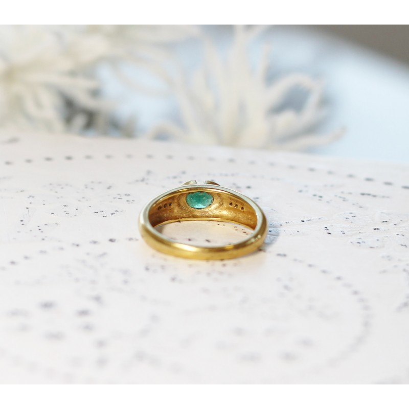Populaire Bague en Or jaune avec Emeraude et diamant NZ36