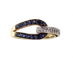 Bague entrelacée en or jaune avec saphirs et diamants