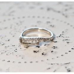 Bague en Or blanc avec Diamants taille Princesse