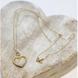 Collier + Pendentif Coeur en Or jaune avec diamants