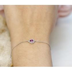 Bracelet en Or blanc avec Topaze et éclats de diamants