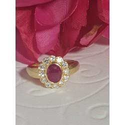 Bague Marguerite en Or jaune avec Rubis et diamants