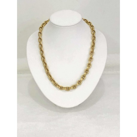 Collier or jaune maille olive