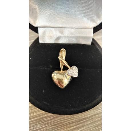 Pendentif Coeur en Or jaune et diamants