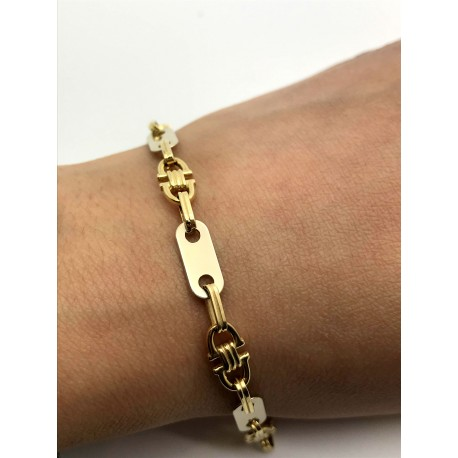 Bracelet or jaune maille fantaisie