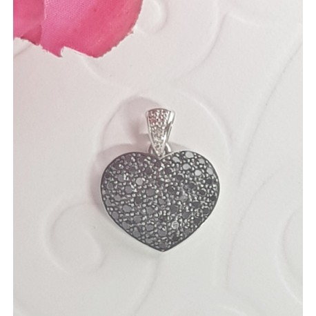 Pendentif Coeur en Or blanc avec Diamants Noir