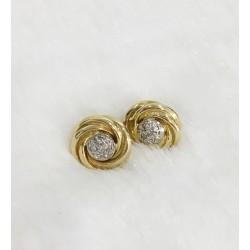 Boucles d'oreille 2 Ors avec éclats de diamants